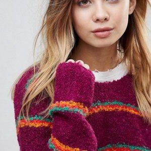 Free People Striped Fuzzy Knit Sweater Large